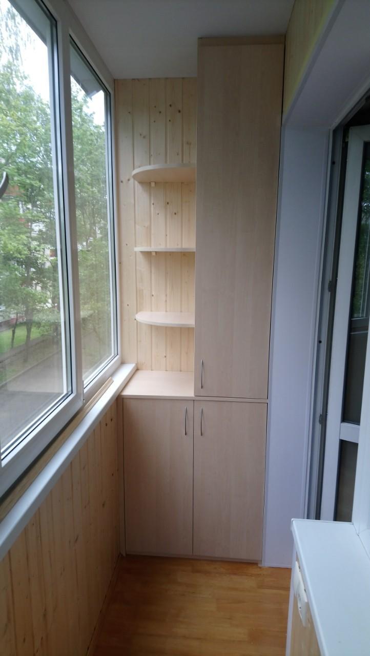 Отделка балкона вагонкой со шкафом